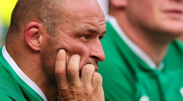 Rory Best watches the final plays of his Ireland side's heavy defeat to England.