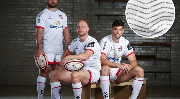 Ulster's John Andrew, Matt Faddes and Sam Carter show off the new home shirt, which encorporates the names of the province's nine counties.