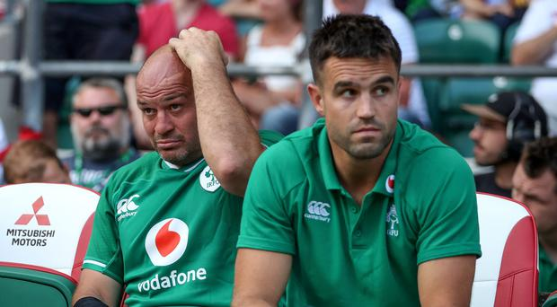 Gone wrong: Rory Best and Conor Murray show their disappointment at Twickenham on Saturday