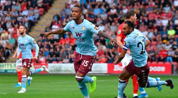 Great start: Ezri Konsa celebrates netting Aston Villa's opener
