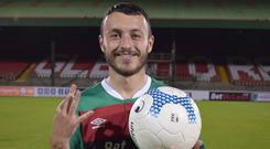 Jonny Frazer netted three goals in the first 23 minutes of Glentoran's win on Tuesday evening.