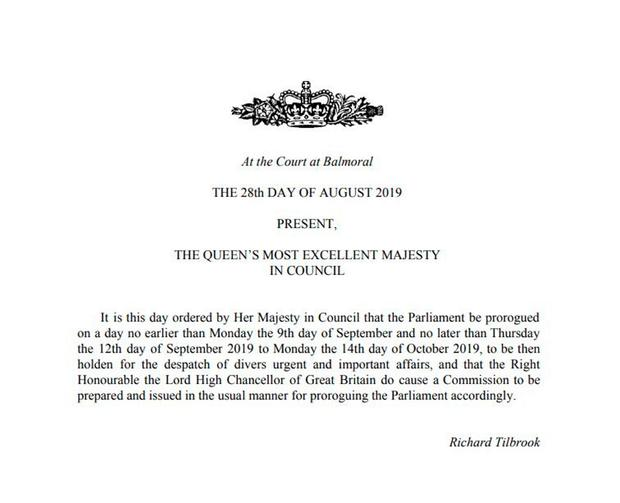 Handout photo issued by the Privy Council of the notification the the Queen has approved an order to prorogue Parliament no earlier than September 9 and no later than September 12, until October 14. Photo credit: Privy Council /PA Wire