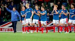 Euro trip: David Healy and Linfield celebrate their victory over Sutjeska