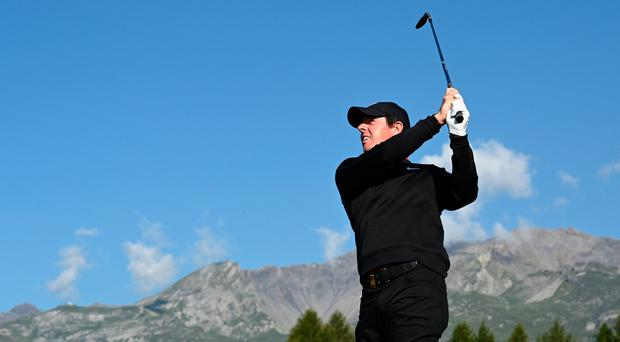 Rory McIlroy in action during his opening round at the European Masters.