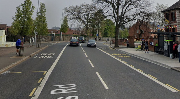The crash took place on the Falls Road in west Belfast. Credit: Google