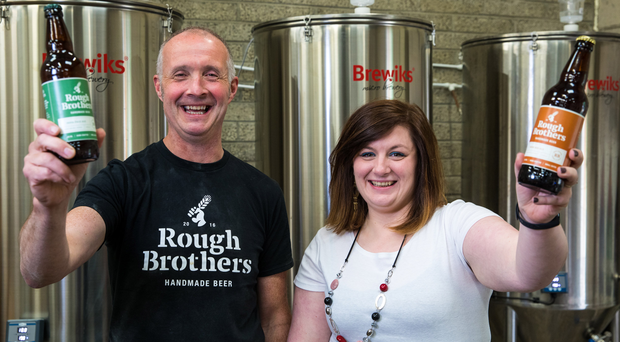 Craft brewer Andrew Rough with Claire Costello, business adviser for Enterprise North West