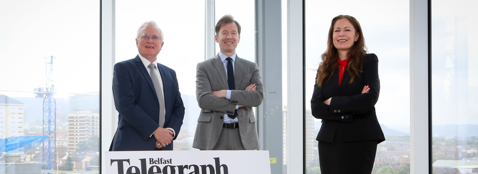 Belfast Telegraph Editor Gail Walker with judging panel chairman, Professor Alastair Adair (left), of Ulster University, and Alan Cunningham, Customer Relationship Manager for award sponsors Electric Ireland