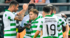 In control: James Forrest is hailed after setting Celtic on their way