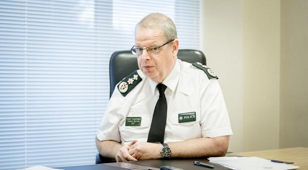Claire McNeilly speaks to Chief Constable Simon Byrne on August 29th 2019 (Photo by Kevin Scott for Belfast Telegraph)