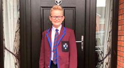 Kerry's son Dan is ready for his first day of the school term