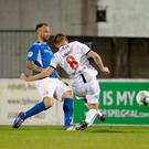 Get in: Coleraine midfielder Stephen Lowry finds the back of the Glenavon net last night