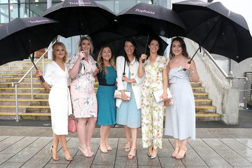 Press Eye - Belfast - Northern Ireland - 30th August 2019 - Musgrave NI Race meeting at Down Royal Racecourse. (L-R) Maria Walsh, Aimee Craig, Sarah Sharkey, Sarah Matthews, Karen Mc Kenna and Oral Drain, pictured at Down Royal.