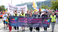 Newry Pride makes its way through the Co Down city. Picture by Jonathan Porter/PressEye