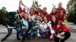 Augsburger Panther fans before Saturday's CHL game against the Belfast Giants (William Cherry/Presseye)