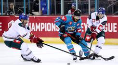 Belfast Giants winger Liam Reddox with Augsburger Panther's Jaroslav Hafenrichter and David Stieler during Saturday night's Champions Hockey League game at the SSE Arena (William Cherry/Presseye)