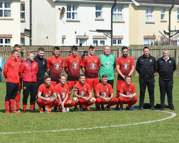 Gavin Halliday (far right) just before the match started on Saturday.