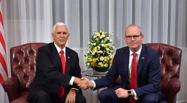 Minister of foreign affairs Simon Coveney (right) at a meeting with US Vice President Mike Pence after he arrived at Shannon airport for the start of an official visit to Ireland.