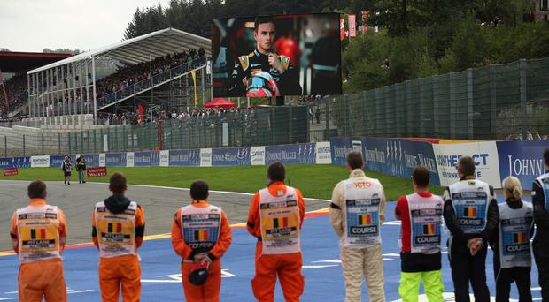 Sad loss: Anthoine Hubert, who died in a Formula Two race, is shown on a big screen ahead of the Belgian GP