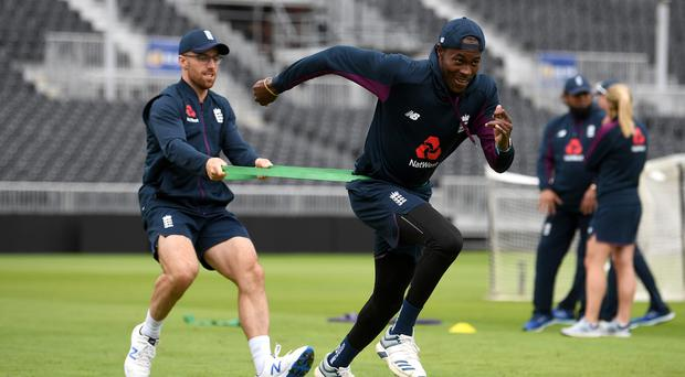 Charging on: Jofra Archer in England training