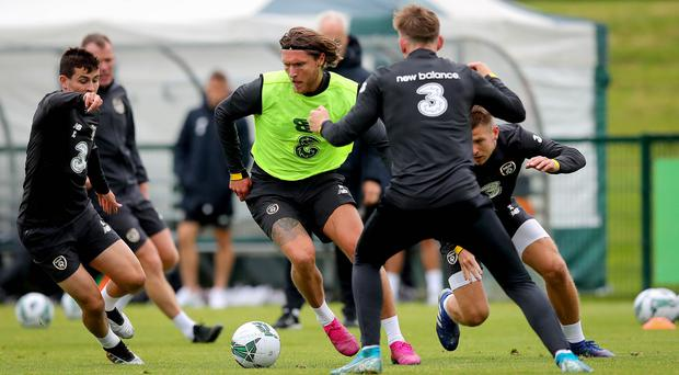 Front foot: Jeff Hendrick in training as he prepares to win his 50th cap for the Republic