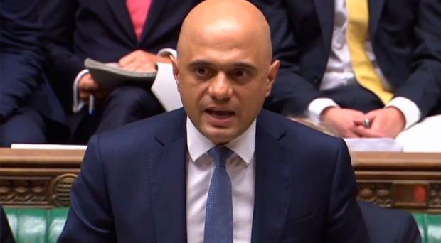 Chancellor of the Exchequer Sajid Javid in the Commons.