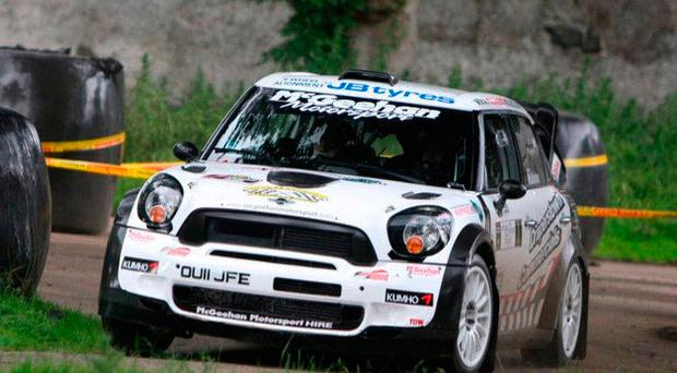 Out in front: Derek McGeehan faces stiff challenge from Derek McGarrity and Stephen Wright at the NI Rally Championship