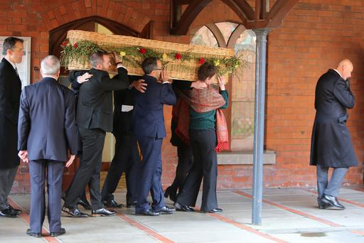 Patrick Corrigan assists relatives carry the coffin of Ciaran Joseph McKeown into the Good Shepherd Church on the Ormeau Road, Belfast County Antrim, Thursday, 5th September 2019, (Photo by Paul McErlane for the Belfast Telegraph)