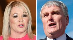 Former Health Ministers Michelle O'Neill and Jim Wells.