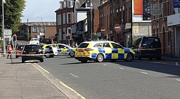 A car collided with a pedestrian in the Railway Street area of Lisburn. Photo Graham Watt/Pacemaker Press