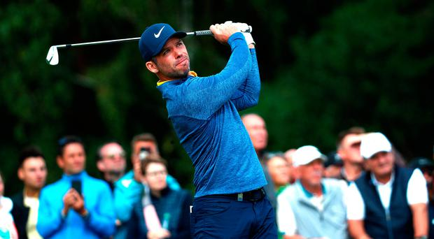 On top: Paul Casey on his way to a six-under 66 in the opening round of the European Open in Hamburg yesterday