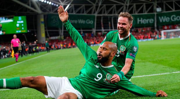 Late sting: David McGoldrick celebrates his equaliser against Switzerland last night