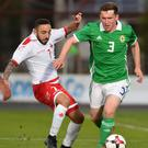 Bobby Burns in action for Northern Ireland Under 21s last week.