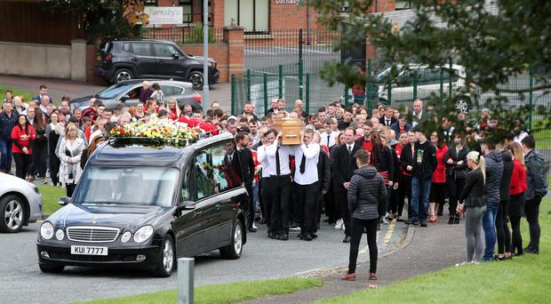 The funeral of Christopher Casement. Photograph by Declan Roughan