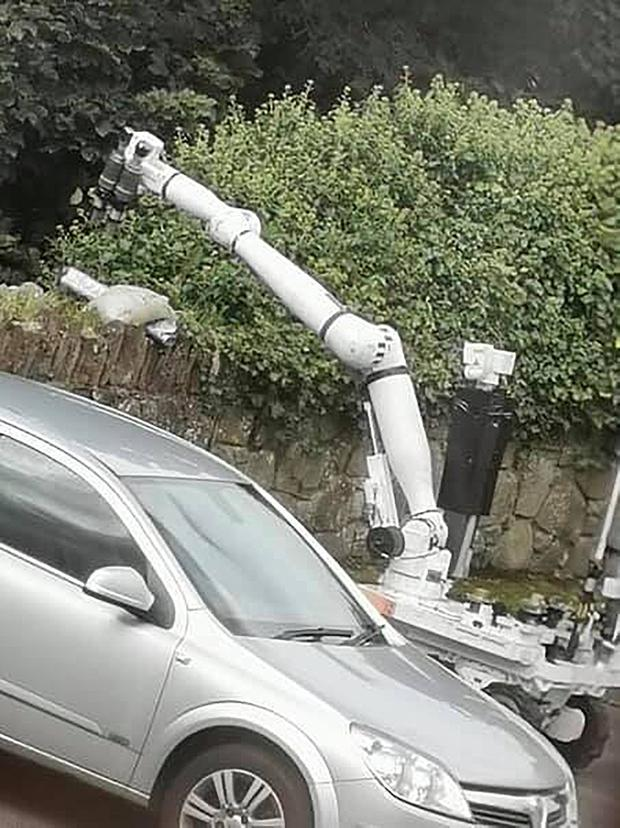 An ATO robot carries out a controlled explosion on a mortar in the Church view area of Strabane on September 7th 2019 (Photo Leona O'Neill)
