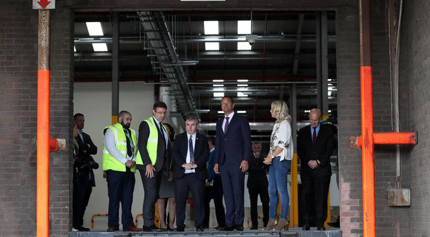 Taoiseach Leo Varadkar with port and customs officials (Brian Lawless/PA)
