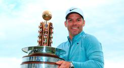 Victory: Paul Casey with the Porsche European Open title