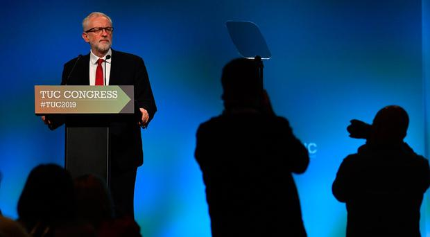 Labour leader Jeremy Corbyn speaks during the Trades Union (TUC) Congress in Brighton. (Photo by Ben STANSALL / AFP)BEN STANSALL/AFP/Getty Images