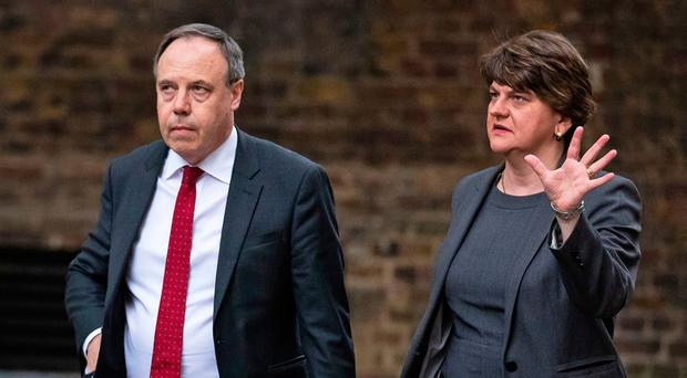 DUP Leader Arlene Foster and deputy leader Nigel Dodds arrive in Downing Street, London for a meeting with Prime Minister Boris Johnson Pic: Aaron Chown/PA Wire