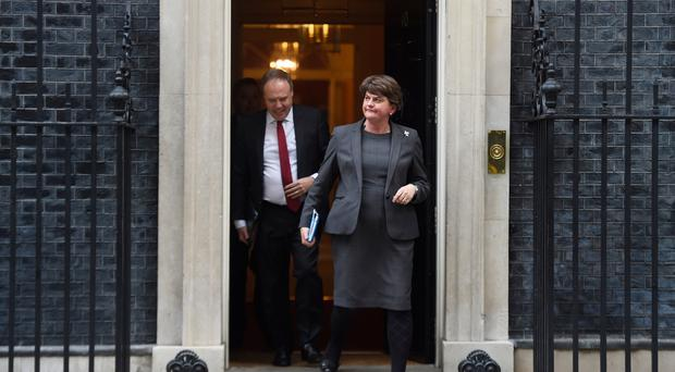 Arlene Foster, leader of the DUP and Nigel Dodds (DUP) leave Downing Street following talks with UK Prime Minister, Boris Johnson on September 10, 2019 in London, England. (Photo by Peter Summers/Getty Images)
