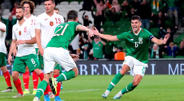 Republic of Ireland's Kevin Long (fourth left) celebrates scoring his side's second goal of the game with team mate John Egan during the International Friendly at the Aviva Stadium, Dublin. Pic: Niall Carson/PA Wire.