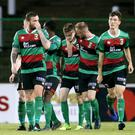 Happy days: Glentoran's Malachy Smith celebrates scoring against Ballyclare Comrades at The Oval