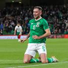 Big moment: Alan Browne after opening the scoring