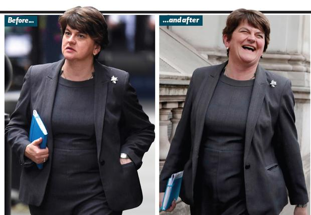 Arlene Foster before and after her meeting with Boris Johnson