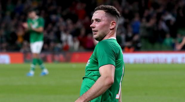 Alan Browne celebrated his first senior international goal on Tuesday (Niall Carson/PA)