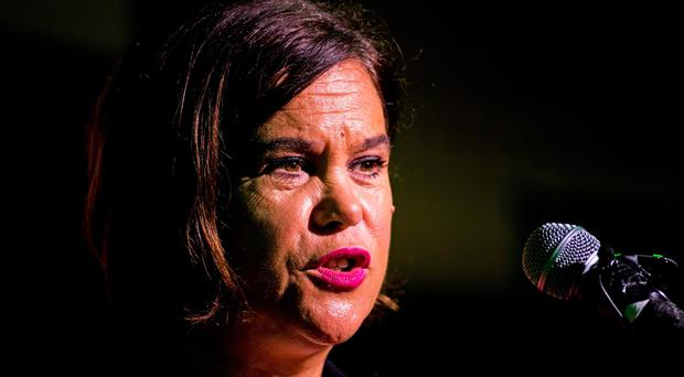 Sinn Fein president Mary Lou McDonald delivering her keynote address during a party meeting at the Carrickdale Hotel and Spa in Dundalk. PA Photo. Wednesday September 11, 2019.