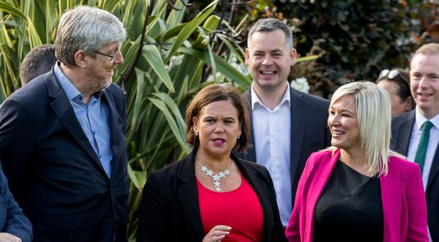 Sinn Fein's John O'Dowd (left) with leader Mary Lou McDonald (centre), and deputy leader Michelle O'Neill (right), before a party away day at the Carrickdale Hotel and Spa: Pic Liam McBurney/PA Wire