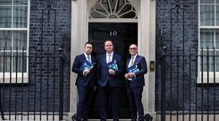 Trade NI Leadership Team: (from Left to Right): Glyn Roberts, Chief Executive, Retail NI, Stephen Kelly, Chief Executive, Manufacturing NI and Colin Neill, Chief Executive, Hospitality Ulster pictured at 10 Downing Street, London. Photo by Kelvin Boyes / Press Eye.
