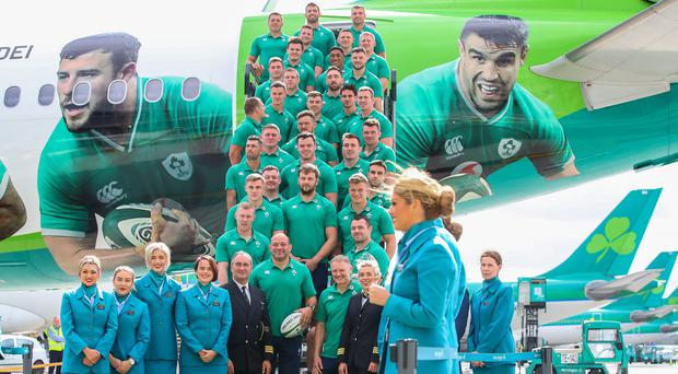 Ready for take off: Ireland's rugby team depart for Japan from Dublin Airport yesterday