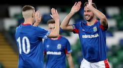 Linfield's Andy Waterworth celebrates scoring against East Belfast during Wednesday nights County Antrim Shield (first round) game at Windsor Park. Photo by William Cherry/Presseye