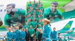 Ready for take off: Ireland's rugby team depart for Japan from Dublin Airport.